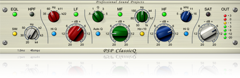 Flavor of vintage EQ`s modern features